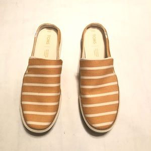 Tom's Cloth Mule Gold & White Clogs Women's 8.5